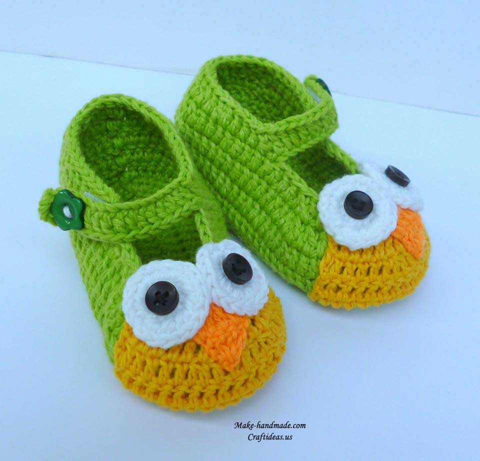 crochet owl booties