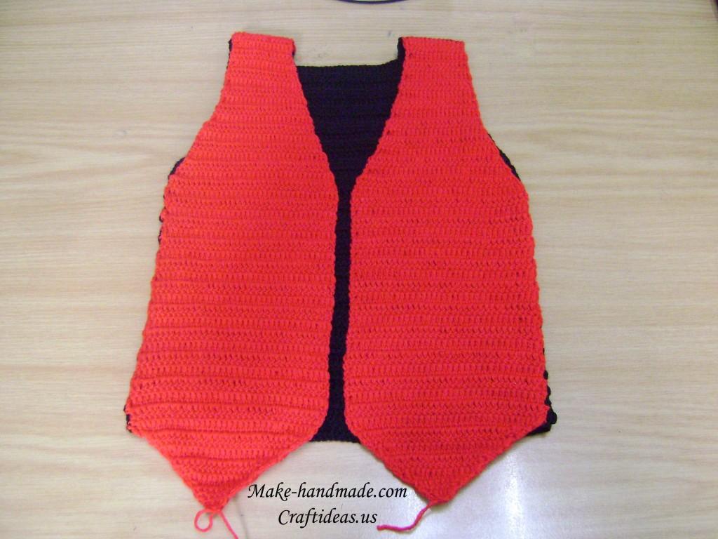 crochet red boy vest