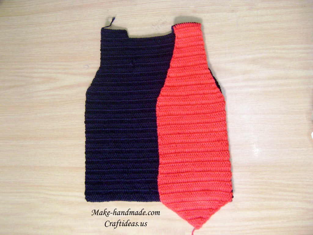 crochet red boy vest photo tutorial