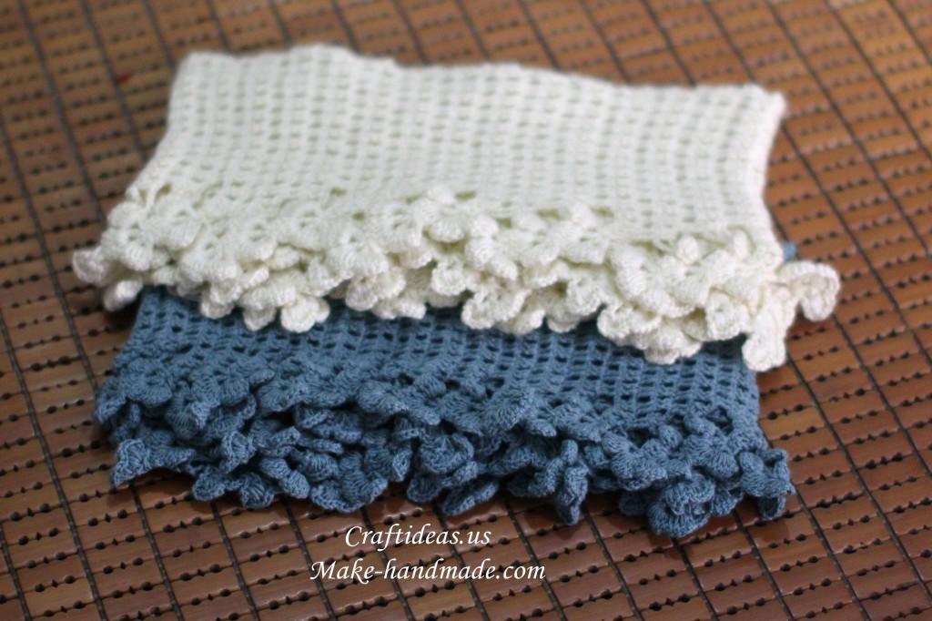 crochet flowers border scarf for make handmade