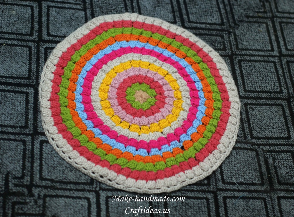Crochet handmade rug and stool face