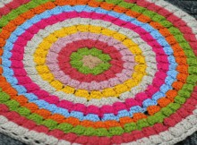 crochet bright stool cover and rug