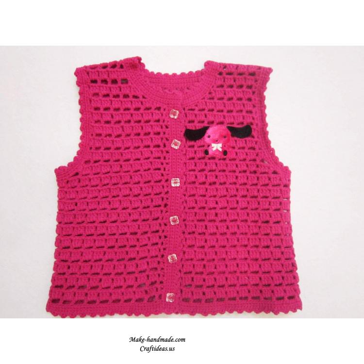 儿童毛衣编织-钩针编织宝宝镂空花样背心教程
