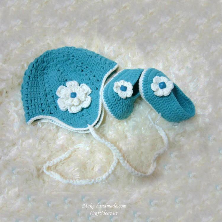 crochet baby set hat and booties