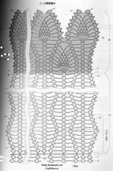 crochet beauty lace scarf diagram
