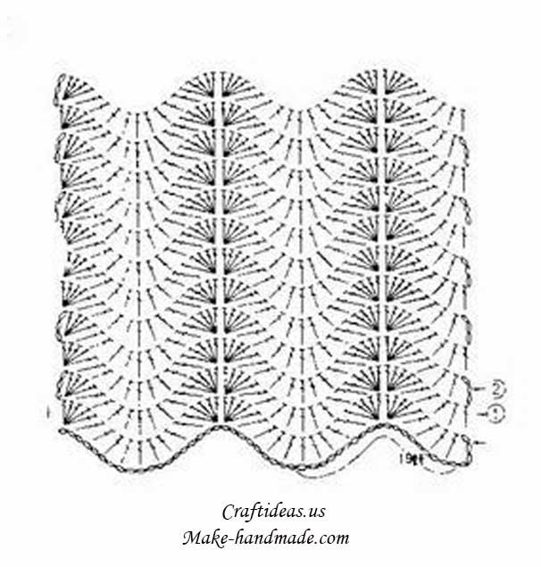 crochet beauty scarf diagram