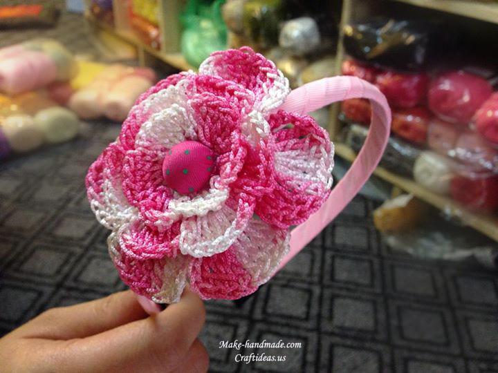 crochet big flower headband