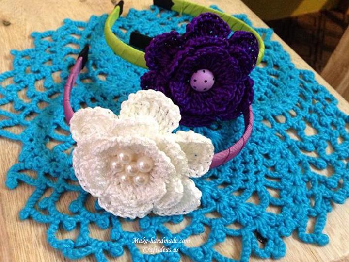 crochet big flowers baby headband
