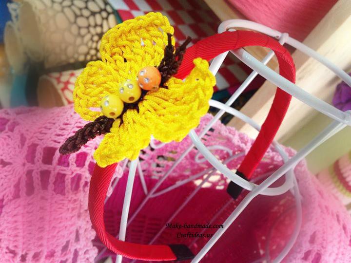 crochet butterfly headband