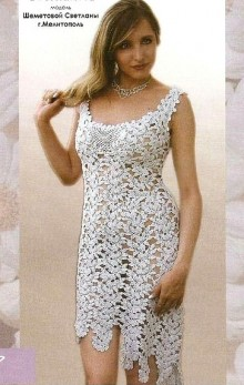 crochet charming lady dress with flower stitches