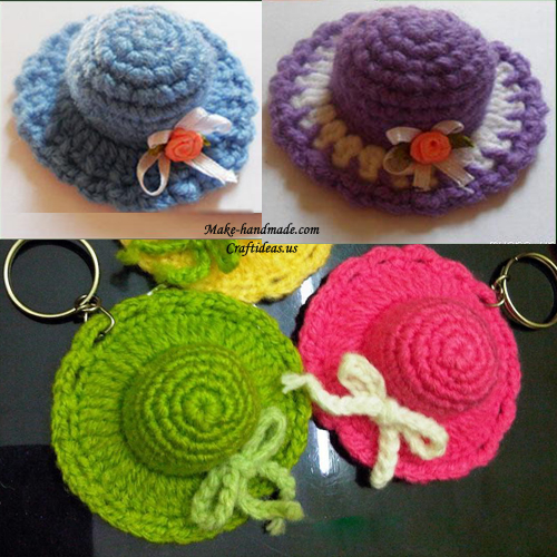 crochet cut hats key chain