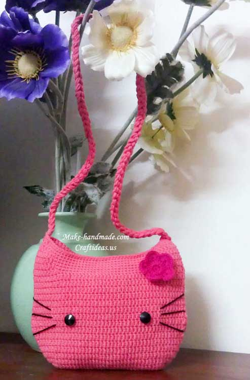 crochet cute hello kitty bag