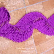 crochet beauty purple wave scarf