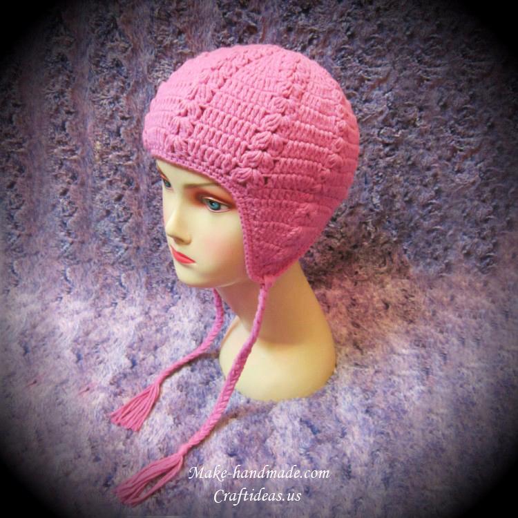 crochet flap baby hat