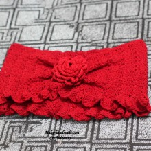 crochet red flower poncho