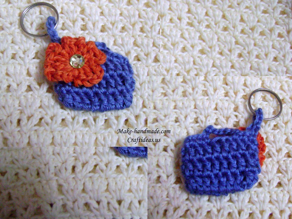 crochet mini handbag key chain