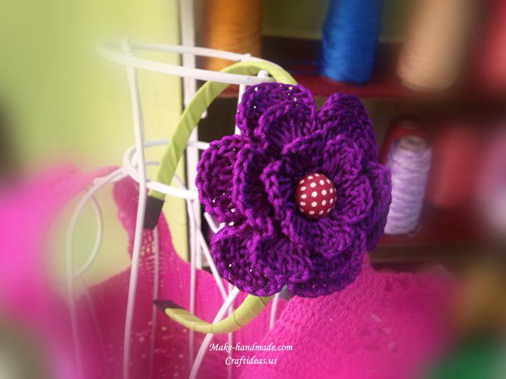 crochet purple flower headband