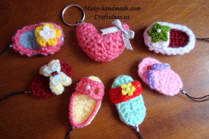 crochet slipper and booties key chains