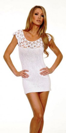 crochet white lace dress for summer, crochet pattern