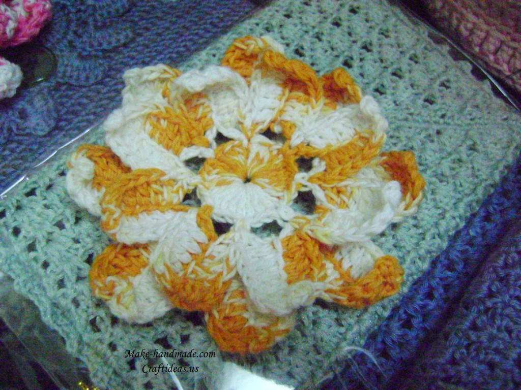 crocheted flower candle