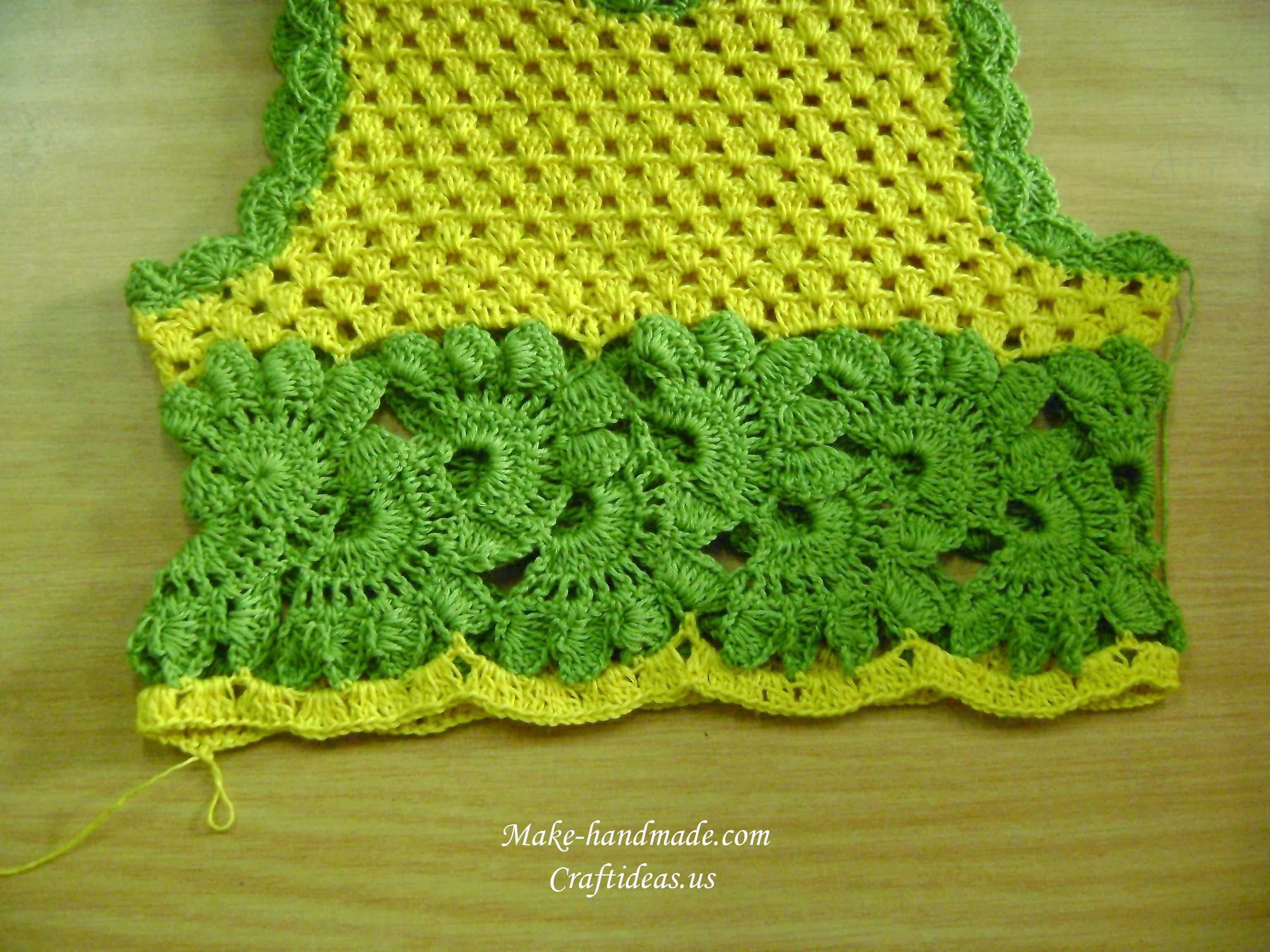 parte inferior de ganchillo para el vestido de bebé