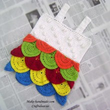 crochet beauty baby dress with fish skin model