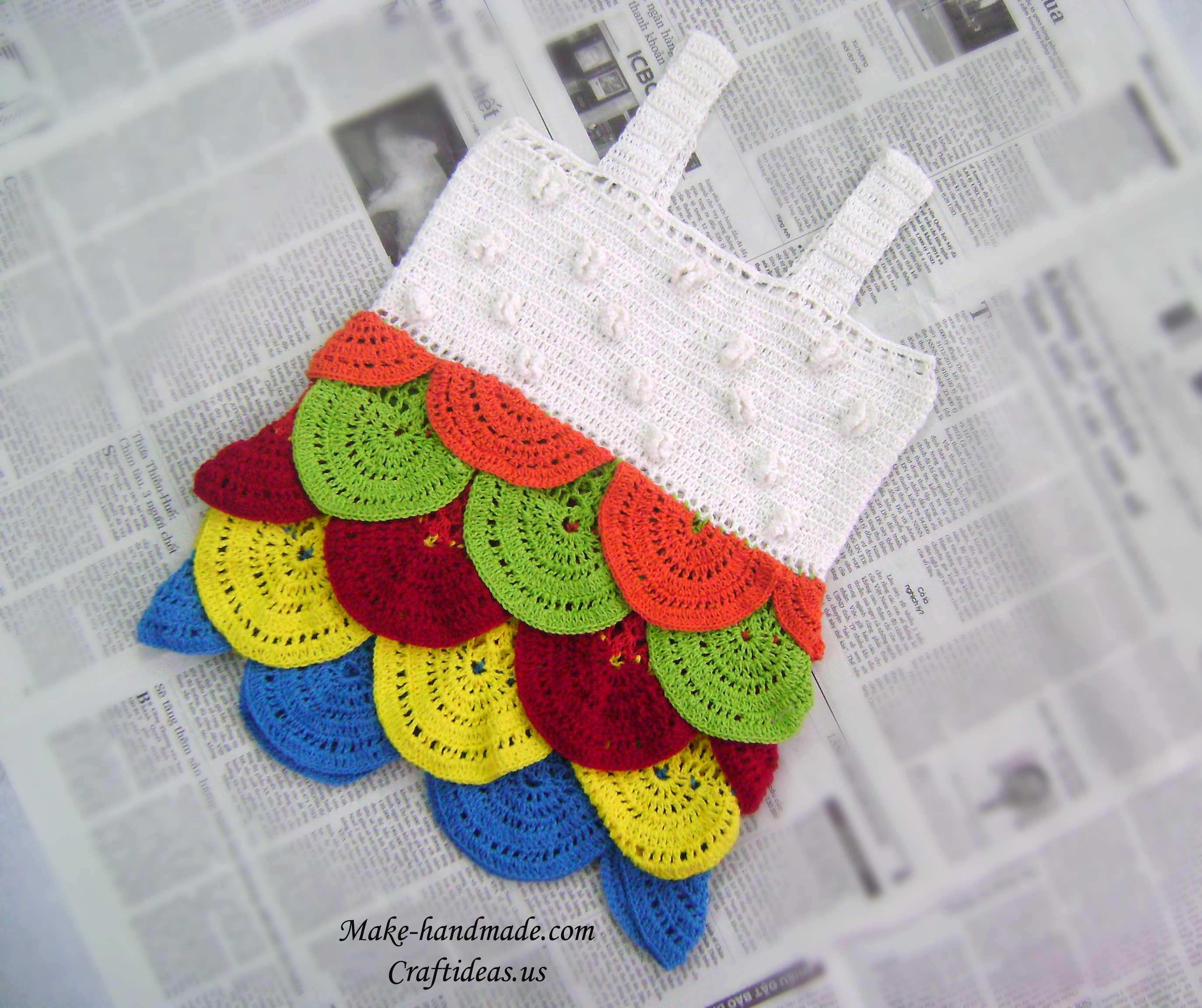 crochet colorful fish skin dress