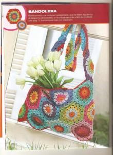 crochet colorful handbag with hexagon motifs, crochet pattern