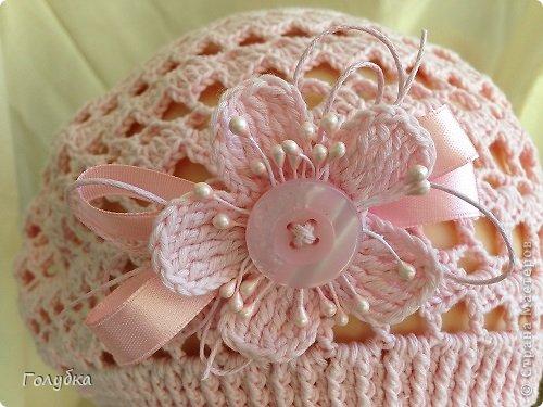 Гардероб Вязание крючком Нежно розовый берет Пряжа фото 5