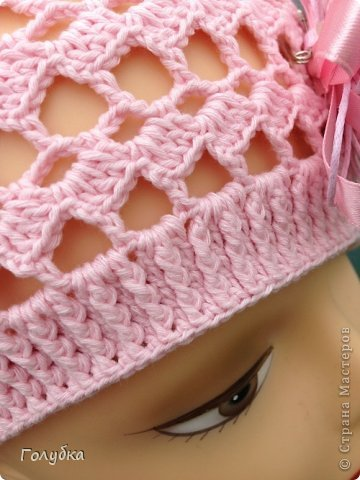 Гардероб Вязание крючком Нежно розовый берет Пряжа фото 7