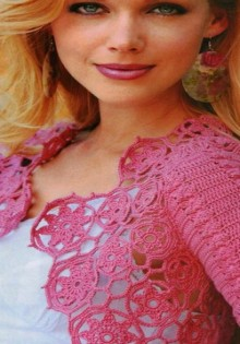 crochet pink lace bolero for girl, crochet pattern