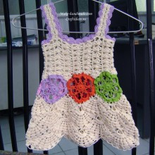 crochet beauty flower baby dress
