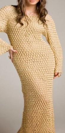 crochet beige dress for party