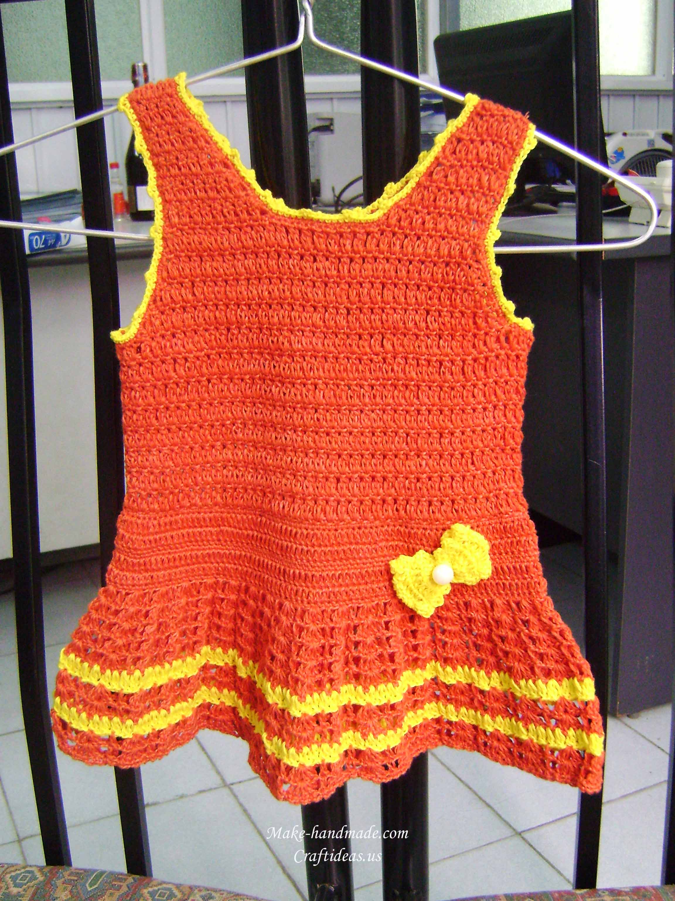 crochet carrot baby dress