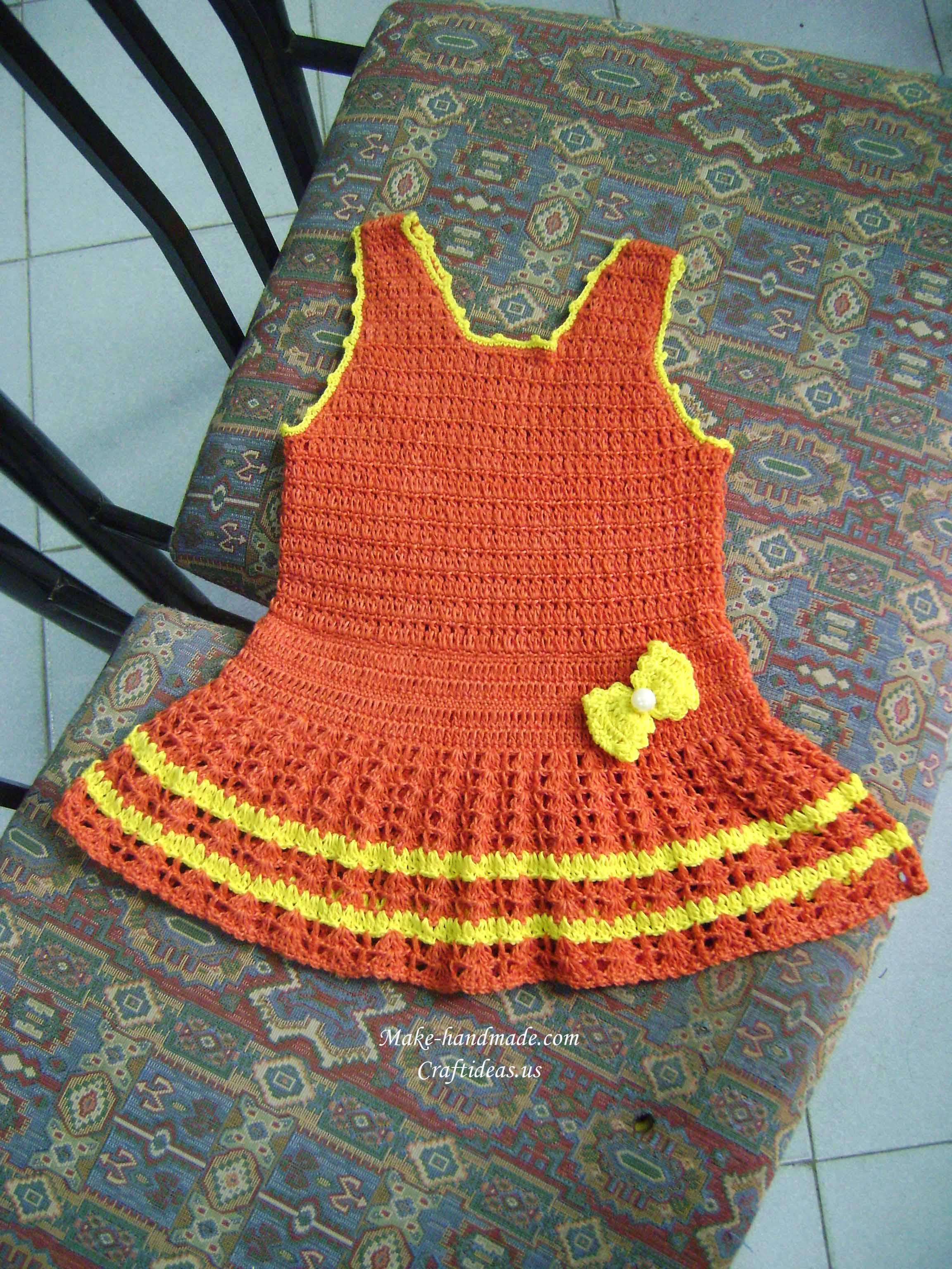 crochet cute baby dress with a bow | make handmade, crochet, craft