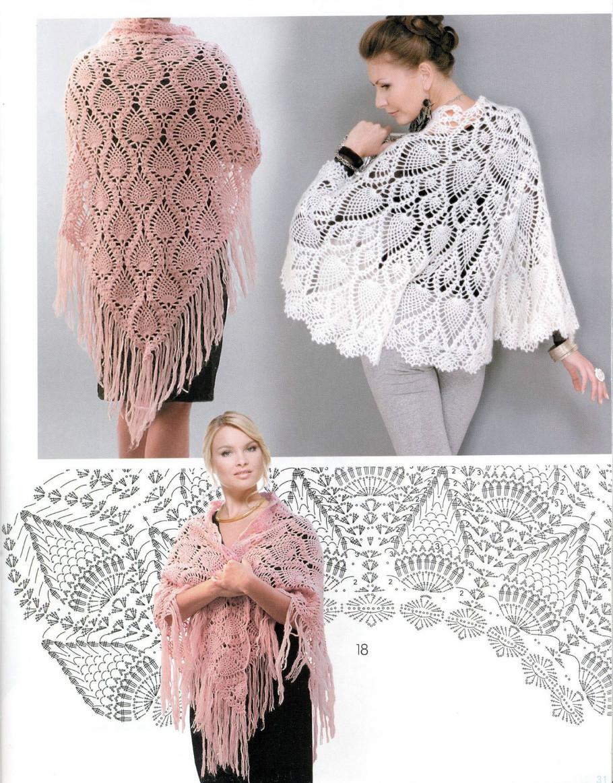 Crochet So Beauty Pineapple Shawls Make Handmade Craft Patterns With Diagram 4