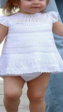 crochet so pretty white dress for little kids