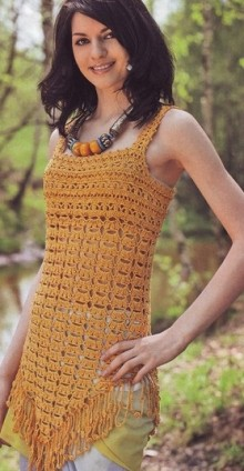 crochet stylish top and dress for summer with triangle bottom