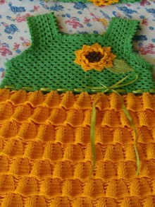 crochet sunflower dress for kids