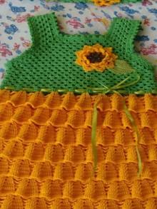 crochet sunflower dress for kids