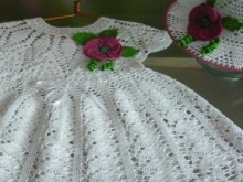 crochet white baby dress and hat