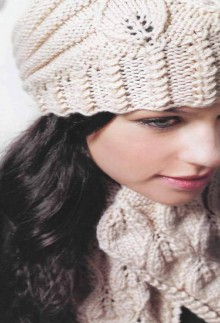 knitting beauty leaves hat and scarf for girl
