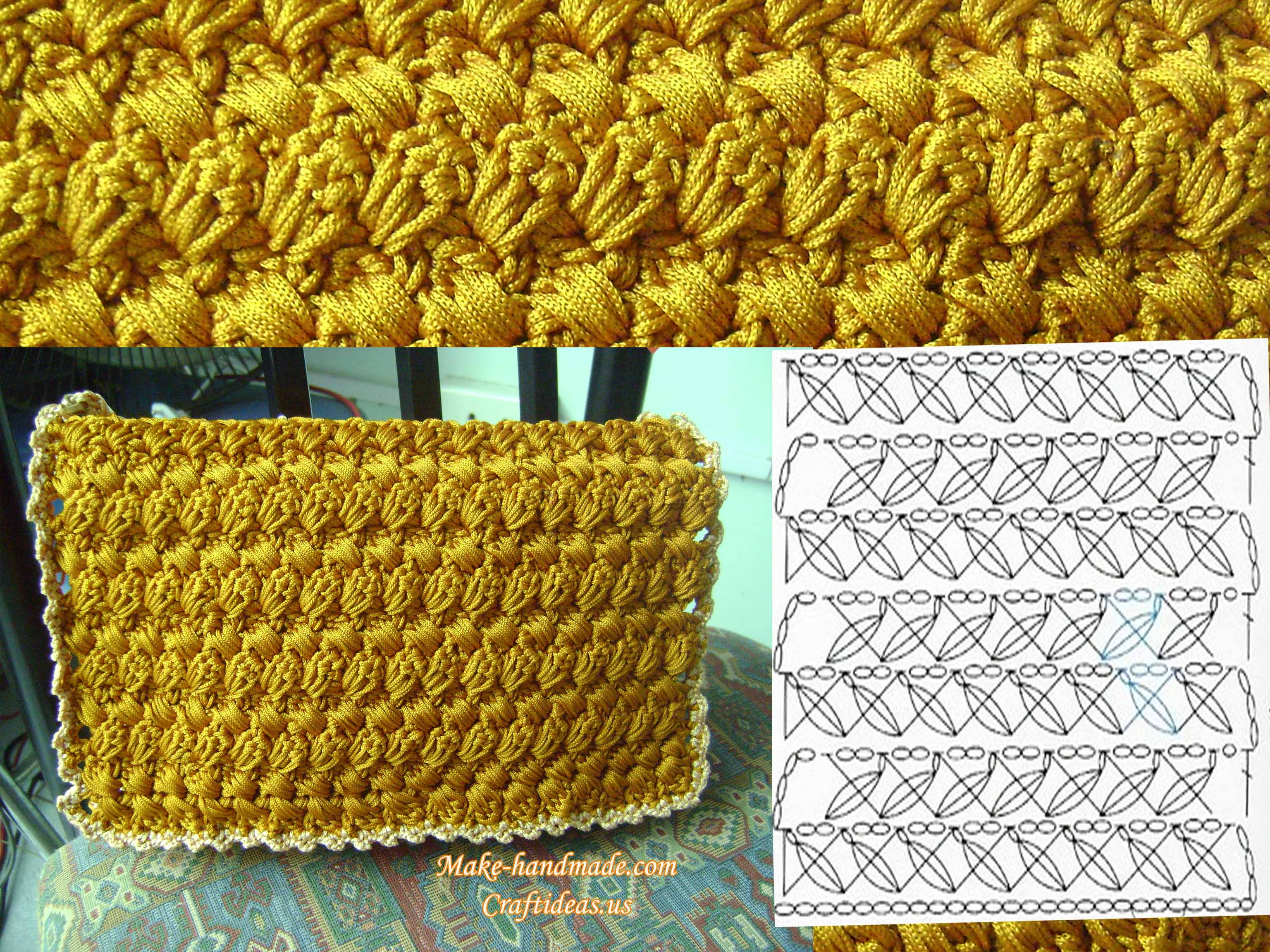 crochet cable handbag chart