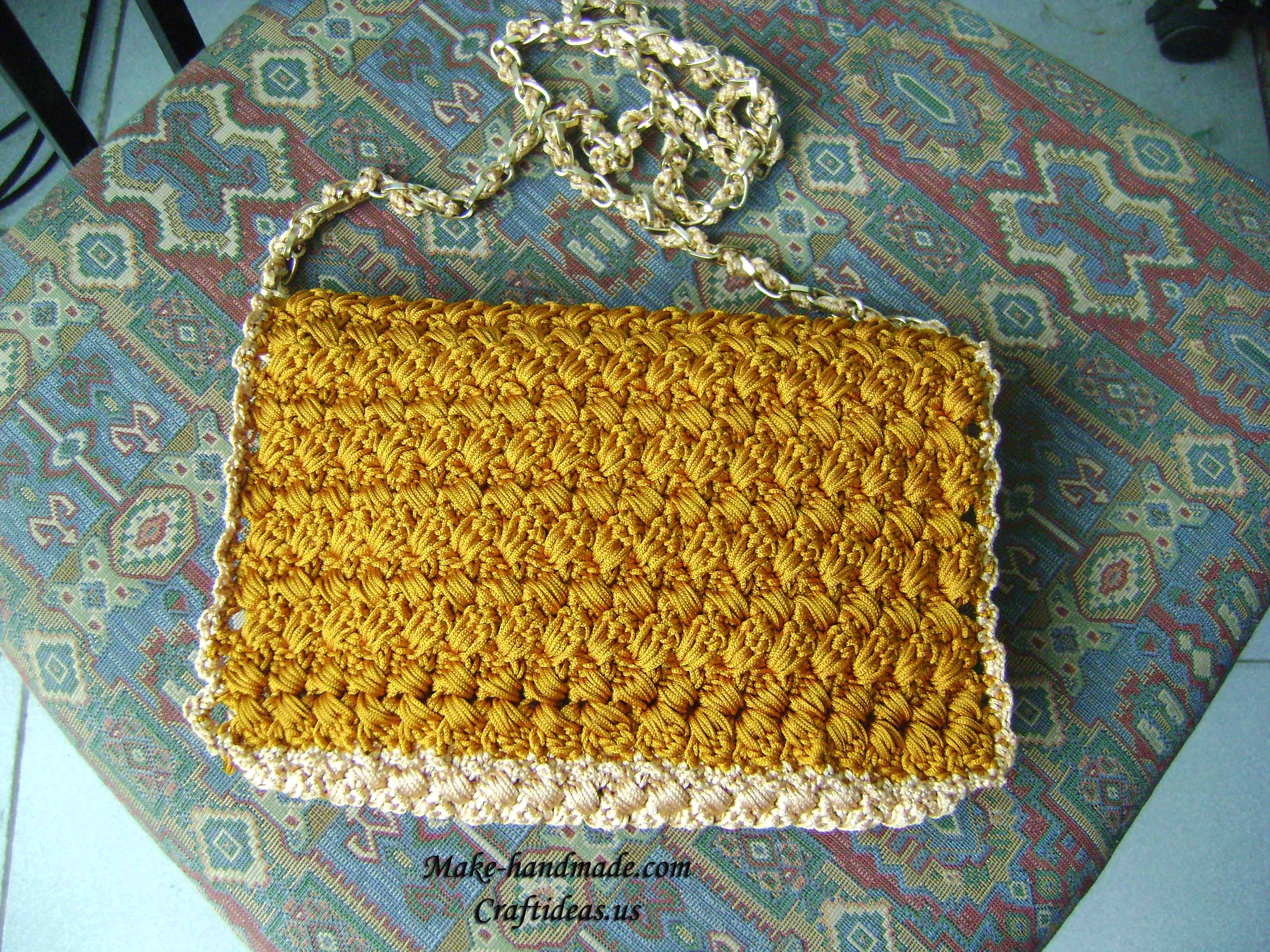 crochet cable handbag