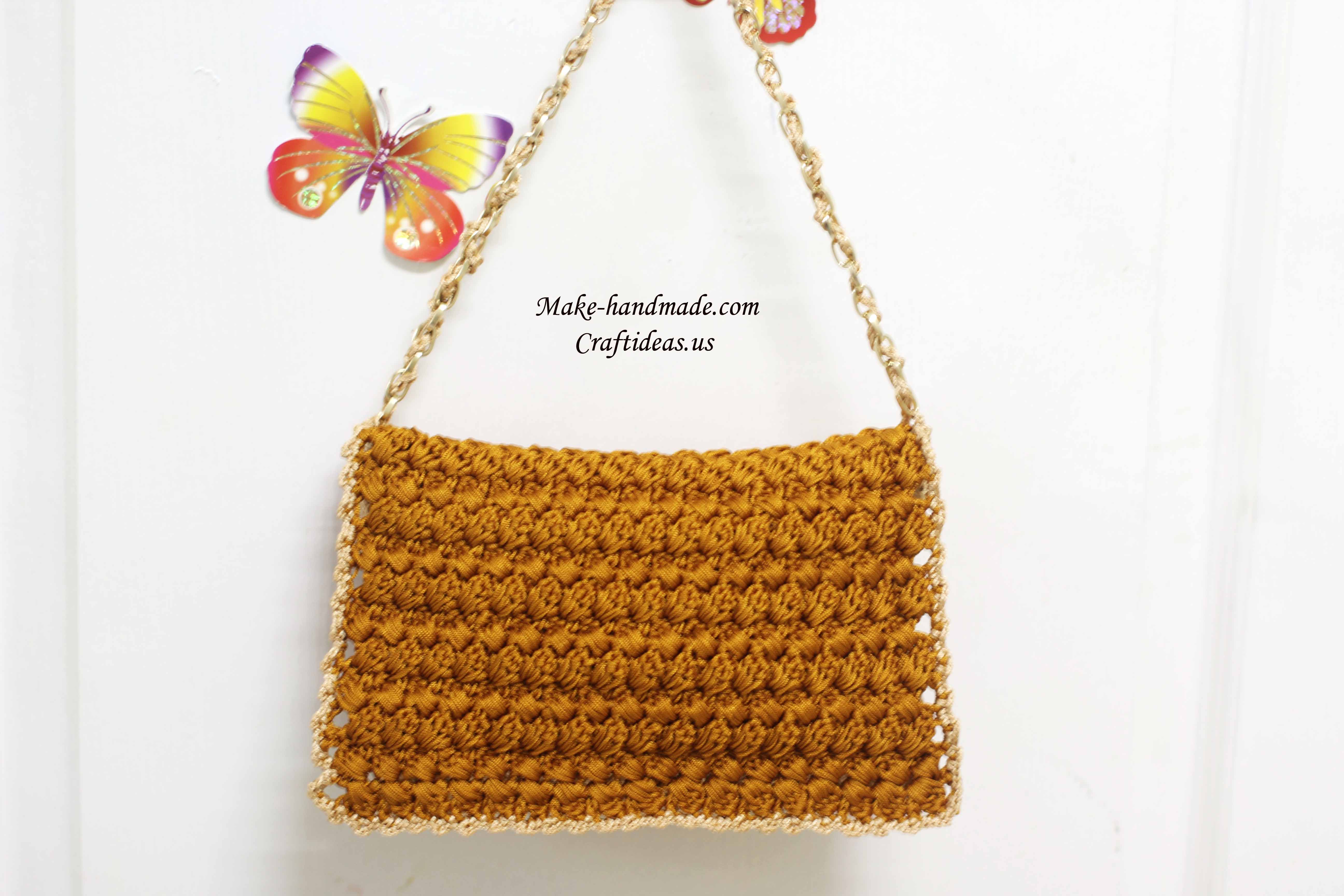 crochet cable purse for girl