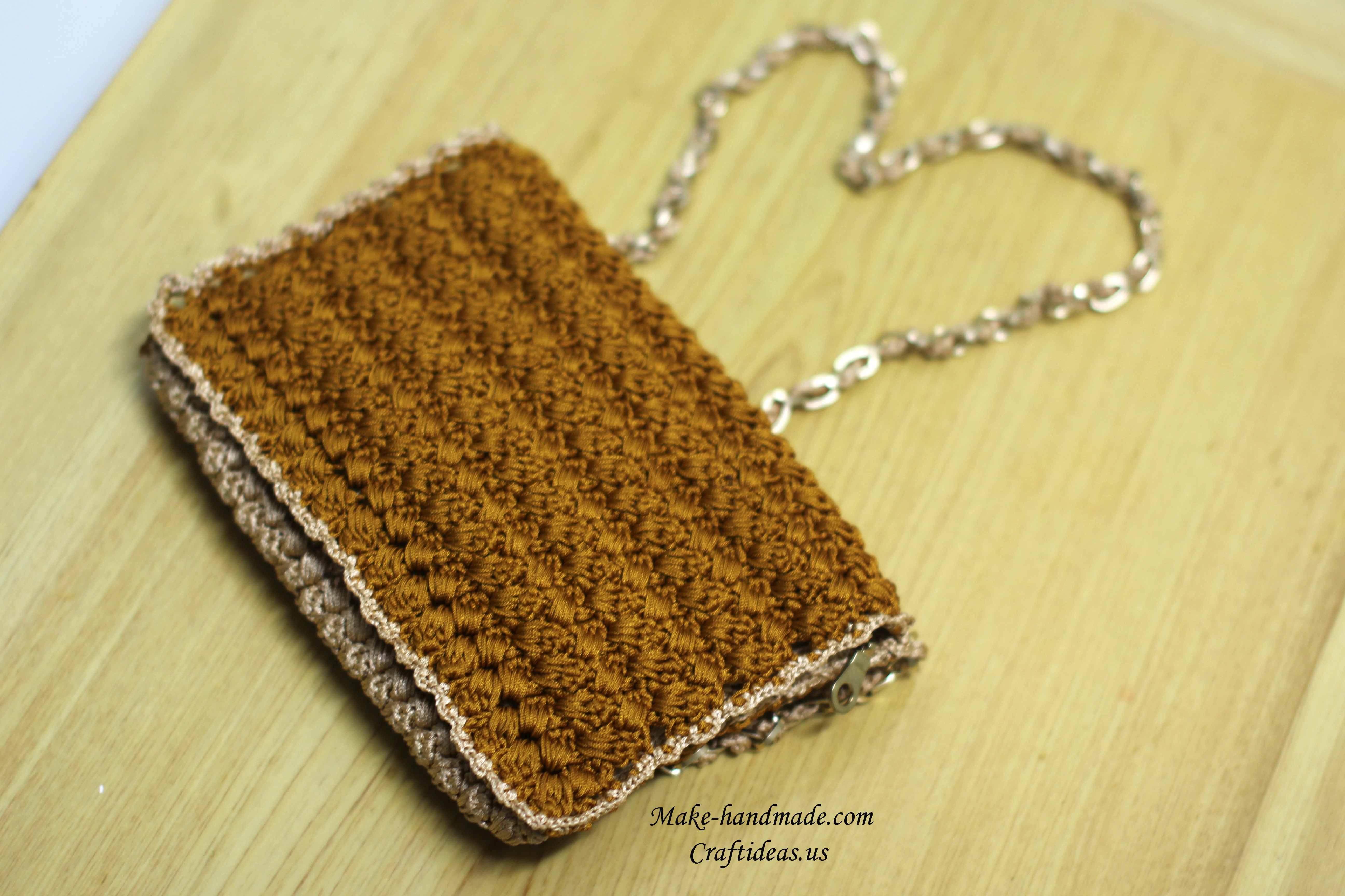 crochet handmade popcorn purse and handbag