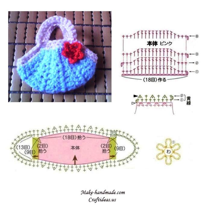 crochet mini cute purse