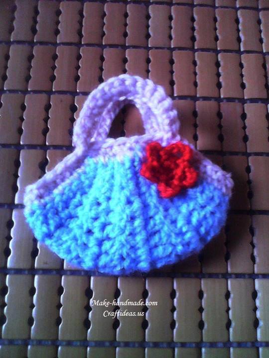 crochet mini purse for keychain