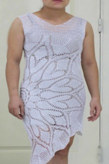 crochet lace leaves dress for party