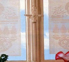 crochet beautiful lace curtain and filet of peacock